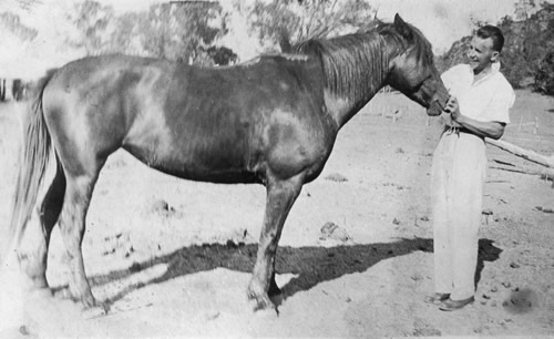 Bogandillon, New South Wales, with his favourite pony, 1929.